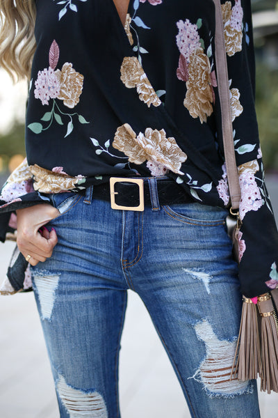 In The Details Belt - cute black belt, front, Closet Candy  Boutique