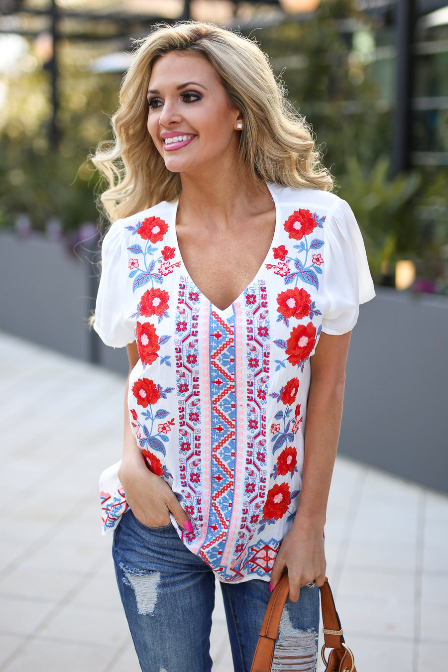 Cozumel Coastin' Top - Ivory v-neck floral embroidered top, outfit, Closet Candy Boutique