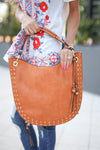 On the Double Bag - Cognac vegan leather bag, front, Closet Candy Boutique
