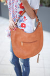 On the Double Bag - Cognac vegan leather bag, back, Closet Candy Boutique