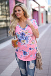Secret Island Top - Pink v-neck floral print top, front, Closet Candy Boutique