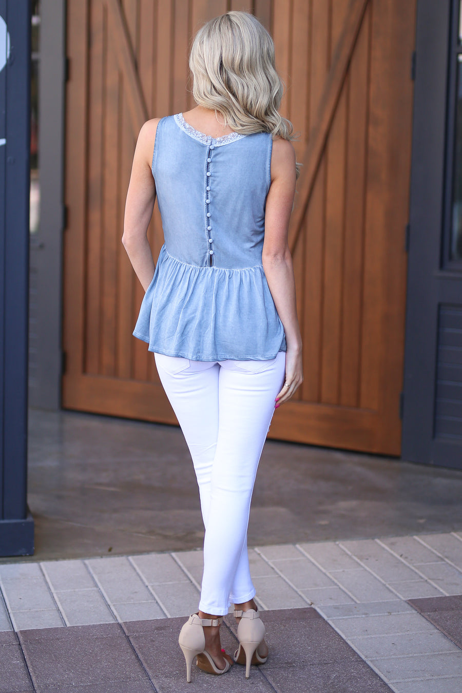 Ocean View Top - Dusty Blue v-neck tank top, outfit, Closet Candy Boutique