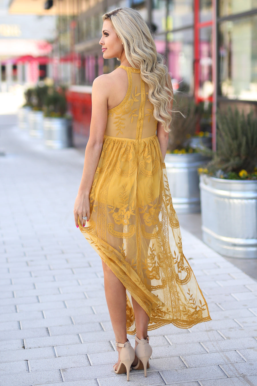 St. Tropez Maxi Dress - Beautiful mustard lace maxi dress, front, Closet Candy Boutique