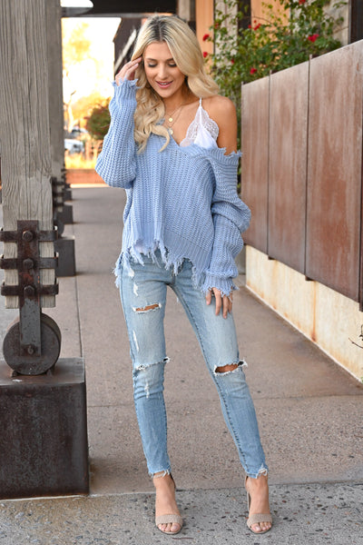 Up For Anything Sweater - Dusty Blue knit women's v-neck sweater with frayed edges, Closet Candy Boutique 3