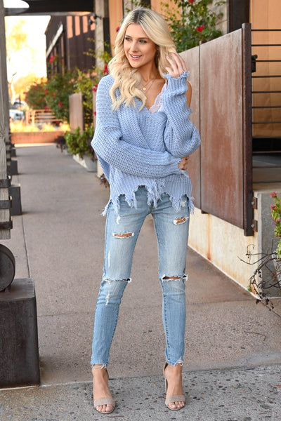 Up For Anything Sweater - Dusty Blue knit women's v-neck sweater with frayed edges, Closet Candy Boutique 2