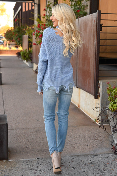 Up For Anything Sweater - Dusty Blue knit women's v-neck sweater with frayed edges, Closet Candy Boutique 5