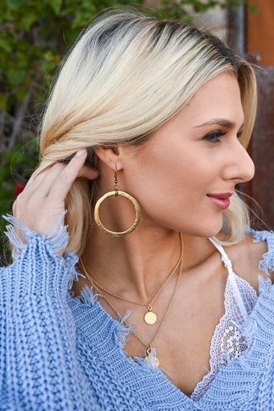 Naomi Disc Earrings - Gold women's flat hammered hoop earrings, Closet Candy Boutique 2