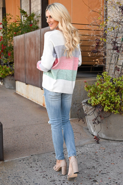 Too Much Spice Color Block Top - Multicolor pastel women's long sleeve, Closet Candy Boutique 2