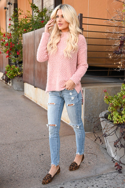 Slay Then Rosé Sweater - Blush women's popcorn hi-low sweater top, Closet Candy Boutique 3