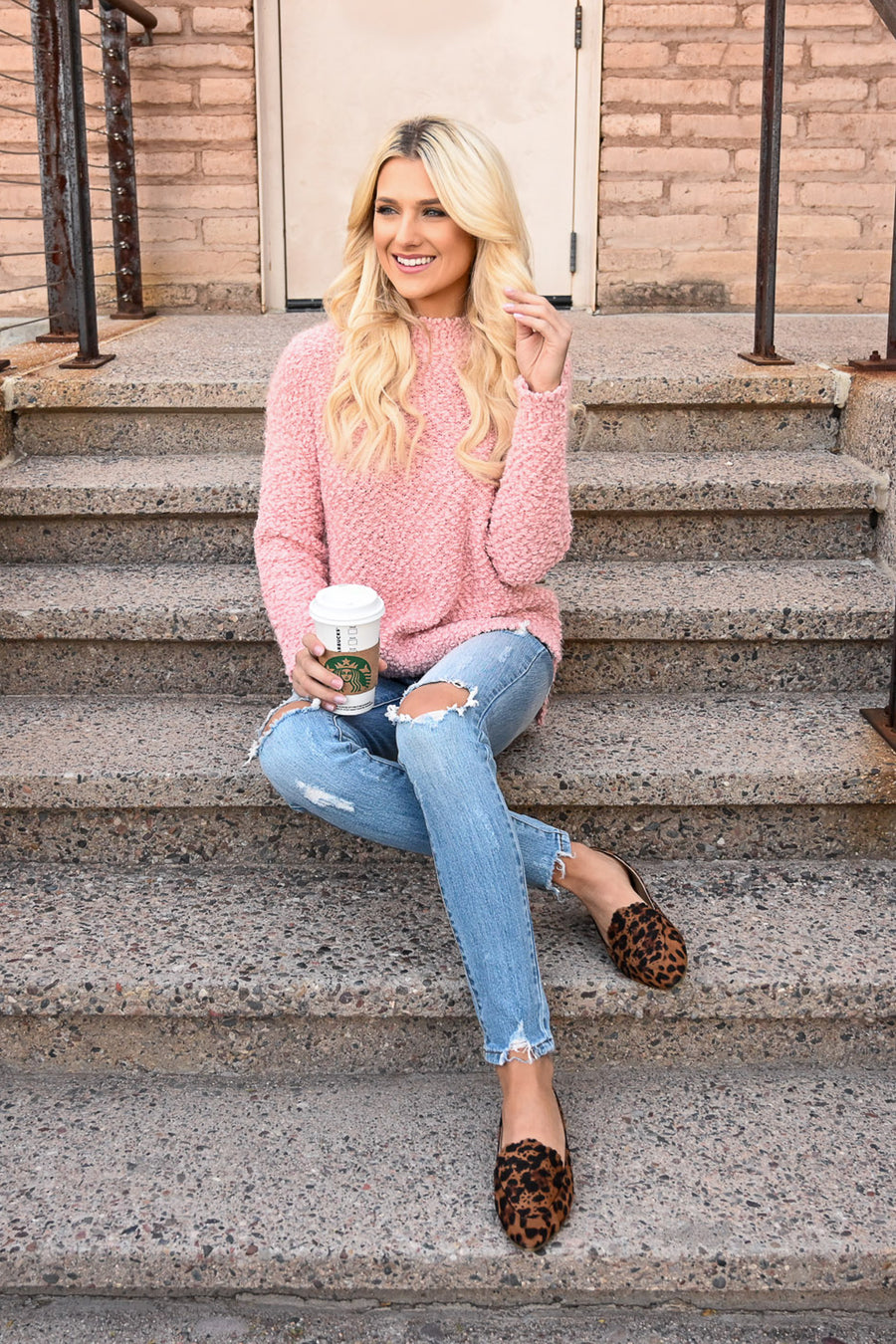 Slay Then Rosé Sweater - Blush women's popcorn hi-low sweater top, Closet Candy Boutique 1