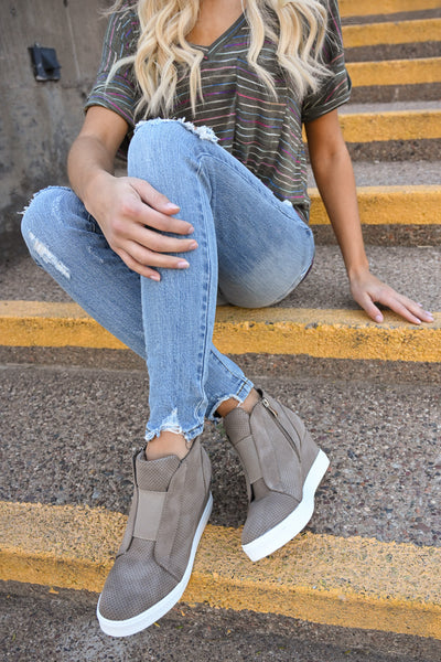 Zoey Wedge Sneakers - Taupe women's laceless sneakers with wedge heel sole, Closet Candy Boutique 4