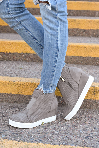 Zoey Wedge Sneakers - Taupe women's laceless sneakers with wedge heel sole, Closet Candy Boutique 3