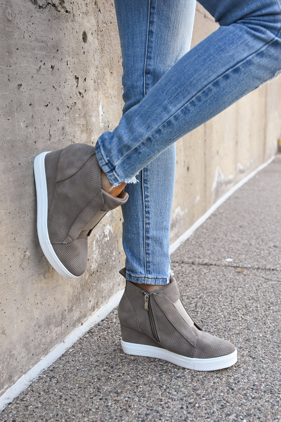 Zoey Wedge Sneakers - Taupe women's laceless sneakers with wedge heel sole, Closet Candy Boutique 1