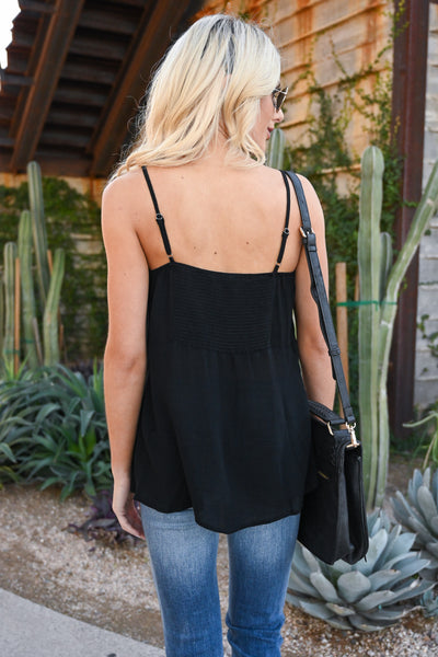 Sun Drenched Embroidered Tank - Black women's lace-up neckline embroidery tank top, Closet Candy Boutique 2