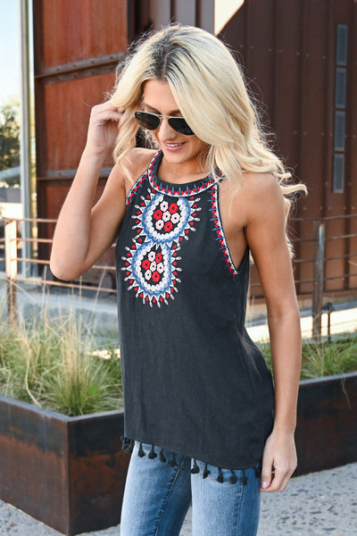 Keep It Cool Embroidered Top - Black women's tank with embroidery and tassel details, Closet Candy Boutique 1