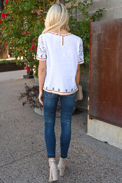 Lovely Thoughts Embroidered Top - White women's short sleeve blouse with embroidery details, Closet Candy Boutique 3