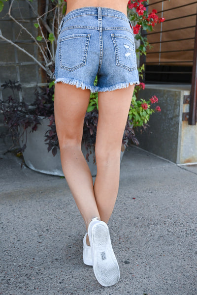 Call Me Cali Girl Denim Shorts - Medium Wash women's raw hem exposed button shorts, Closet Candy Boutique 4