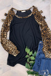 Flip Side Cold Shoulder Top - Black womens trendy cold shoulder leopard print sleeve top closet candy front