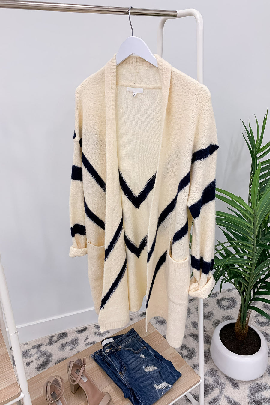 Alright Now Chevron Cardigan - Ivory womens casual long chevron detail cardigan closet candy front