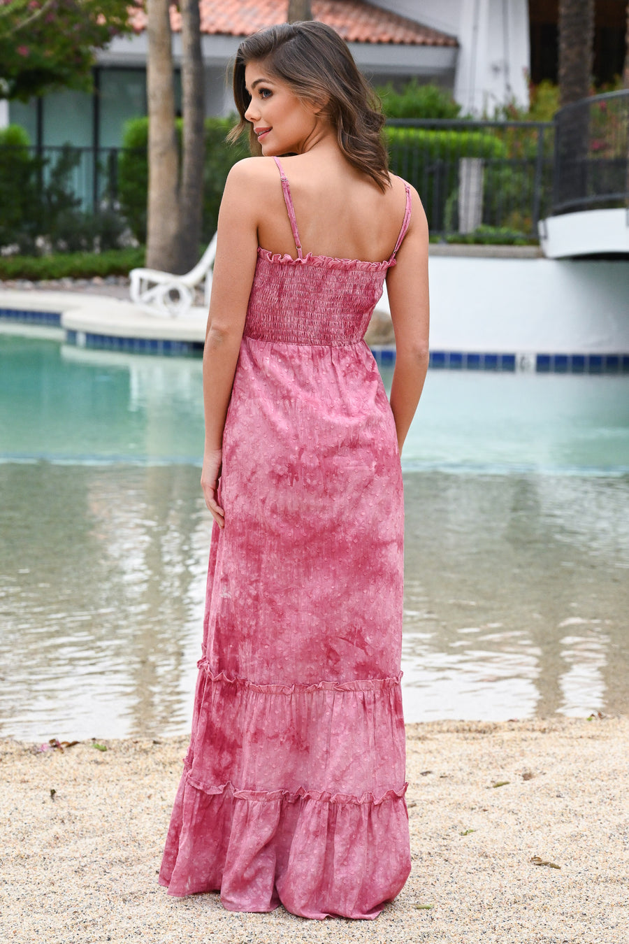 Desert Rose Tie-Dye Maxi Dress - Pink women's ruffled long dress, Closet Candy Boutique 1