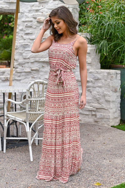Vacay On My Mind Maxi Dress - Brick women's tribal print maxi, Closet Candy Boutique 2