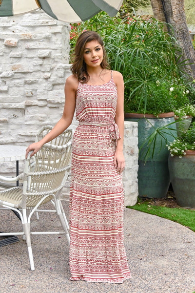 Vacay On My Mind Maxi Dress - Brick women's tribal print maxi, Closet Candy Boutique 4