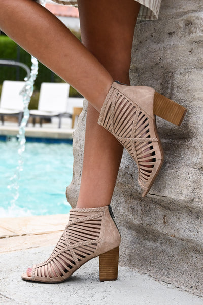 Love To All Booties - Beige women's strappy heeled boots, Closet Candy Boutique 2