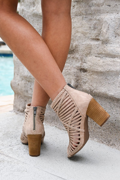 Love To All Booties - Beige women's strappy heeled boots, Closet Candy Boutique 5