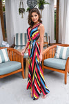 Scottsdale Dreaming Maxi Dress - Multicolor v-neck, silky, flowy dress, Closet Candy Boutique 5