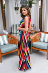 Scottsdale Dreaming Maxi Dress - Multicolor v-neck, silky, flowy dress, Closet Candy Boutique 3