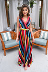 Scottsdale Dreaming Maxi Dress - Multicolor v-neck, silky, flowy dress, Closet Candy Boutique 4