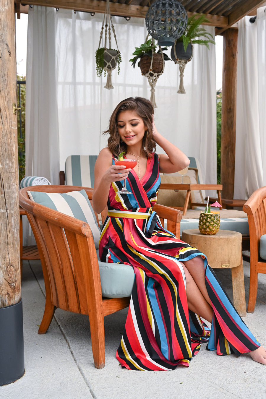 Scottsdale Dreaming Maxi Dress - Multicolor v-neck, silky, flowy dress, Closet Candy Boutique 1