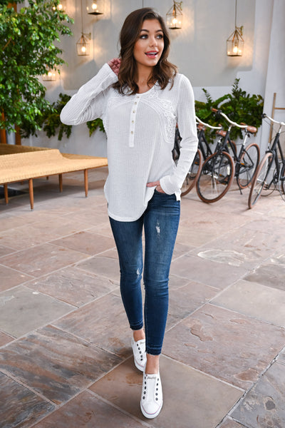 Easy Like Sunday Morning Top - White women's long sleeve top, crochet & button details, Closet Candy Boutique 1