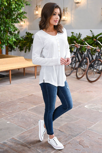 Easy Like Sunday Morning Top - White women's long sleeve top, crochet & button details, Closet Candy Boutique 3