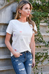 True To Your Heart Embroidered Top - White womens casual short sleeve round neck tee closet candy front