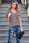 Close To You Leopard Top - Coral womens casual leopard print top cuffed short sleeves closet candy front