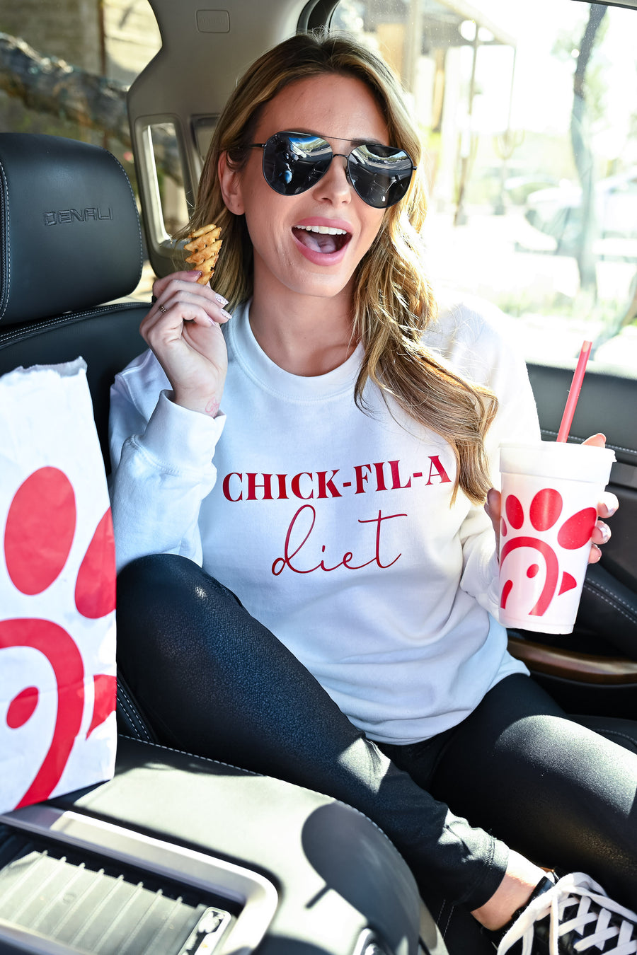 """Chick-Fil-A Diet"" Sweatshirt - White womens casual graphic long sleeve sweatshirt closet candy sitting"