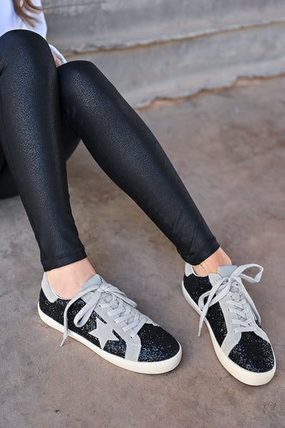 Super Star Glitter Sneakers - Black womens casual glitter detail star lace up sneaker closet candy top