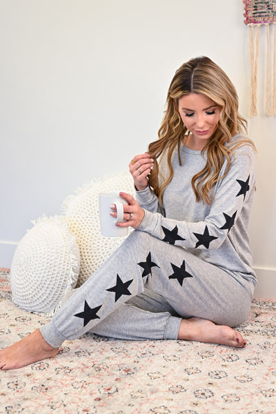Under the Stars Lounger Set - Heather Grey womens casual star print loungerwear long sleeve set closet candy sitting