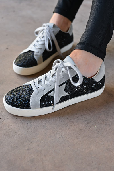 Super Star Glitter Sneakers - Black womens casual glitter detail star lace up sneaker closet candy front