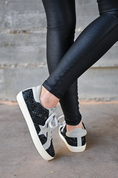 Super Star Glitter Sneakers - Black womens casual glitter detail star lace up sneaker closet candy back