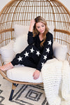Under The Stars Lounger Set - Black womens casual star print loungewear set closet candy sitting 2