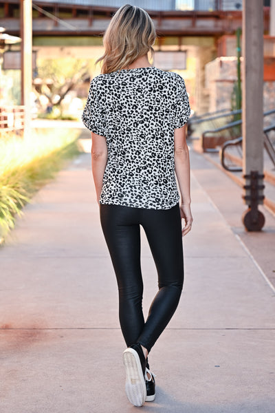 Close To You Leopard Top - Heather Grey womens casual short sleeve v-neck front pocket leopard tee closet candy back