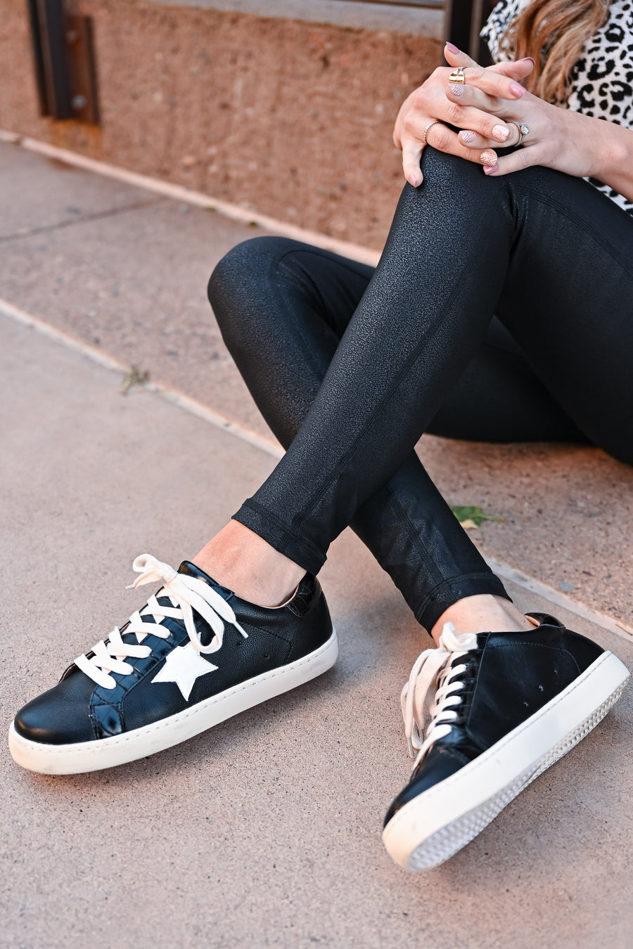 Super Star Sneakers - Black womens casual lace up sneakers white star design closet candy 2
