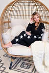 Under The Stars Lounger Set - Black womens casual star print loungewear set closet candy sitting