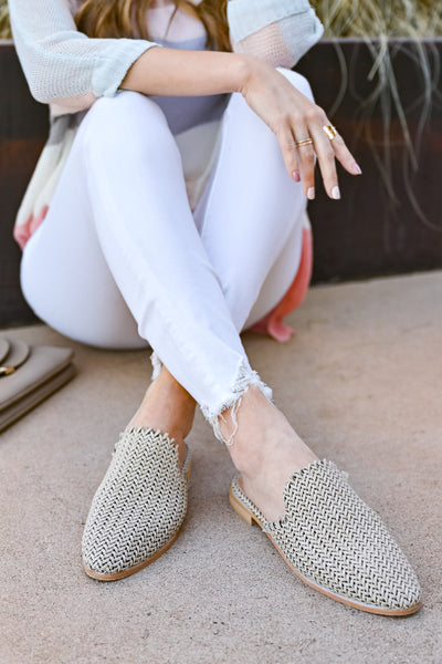 Vivian Woven Mules - Beige womens trendy woven detail mules cushioned insole closet candy sitting