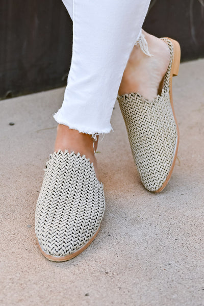Vivian Woven Mules - Beige womens trendy woven detail mules cushioned insole closet candy standing