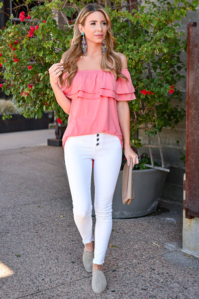 Make It Great Top - Coral womens casual off the shoulder ruffle detail top closet candy front