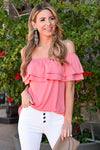 Make It Great Top - Coral womens casual off the shoulder ruffle detail top closet candy front 2