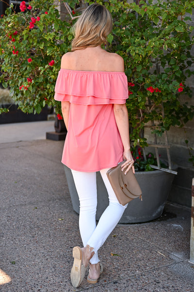 Make It Great Top - Coral womens casual off the shoulder ruffle detail top closet candy back